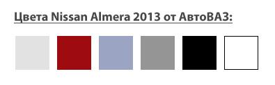 Ниссан Альмера 2013 АвтоВАЗ: доступные цвета